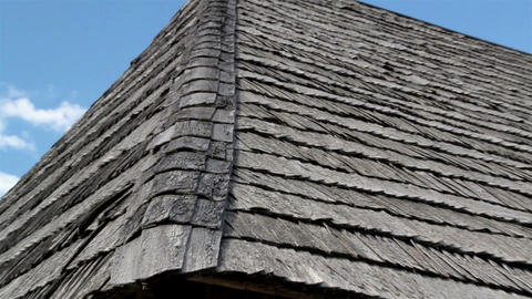 The corner of old cedar wooden shingle shake roof  Footage
