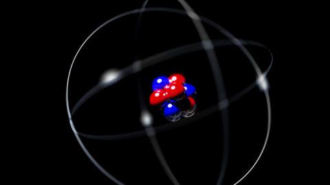 Atom single high energy shake vibrate nucleus prot Animation