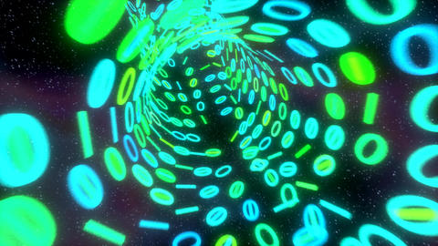 Binary tunnel wormhole flight through space warp s Animation