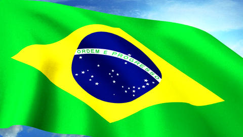 Brazilian Flag Closeup Waving Against Blue Sky Sea Animation