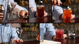 Bartender Preparing Cocktails Multiscreen Video Di ビデオ