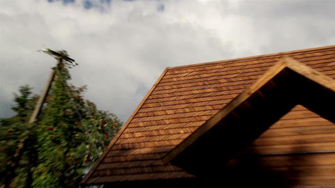 Close-up The Oiled Cedar Wooden Shingle Roof Of Th stock footage