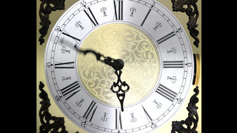 Clock face zoom running at speed ornate grandfathe Animation