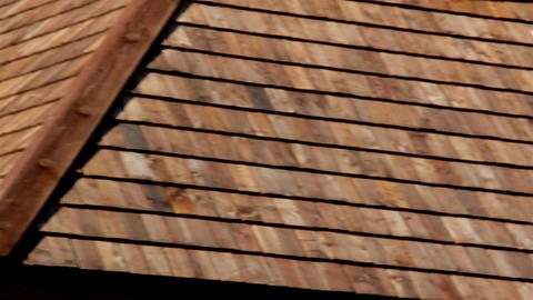 View of the side of the tar oiled cedar wooden shi Footage