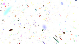 Confetti shapes falling away from camera slow moti Animation