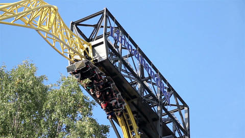 Roller Coaster Moving Upside Down stock footage