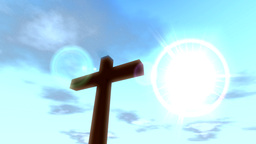 Cross Crucifix With Time Lapse Clouds Blue Sky And stock footage