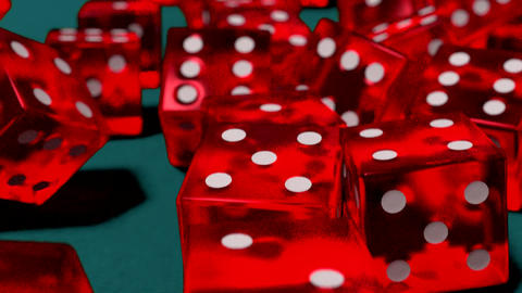 Dice rolling red slow motion closeup DOF on blue f Animation