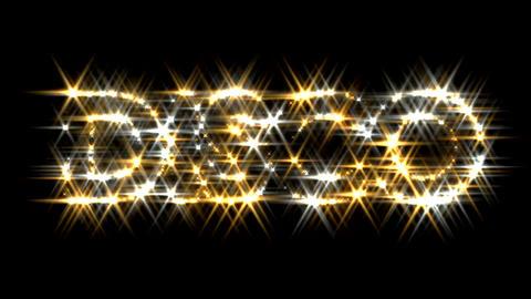 Disco logo text sparkling glitter gold silver Animation