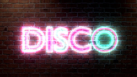 Disco logo neon lights sign on brick wall text glo Stock Video Footage