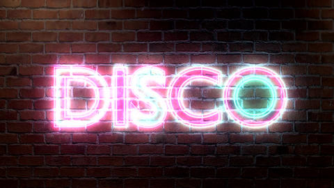 Disco logo neon lights sign on brick wall text glo Animation