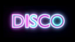 Disco neon sign lights logo text glowing multicolo Animation