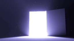 Door open to bright light cool blue new opportunit Animation