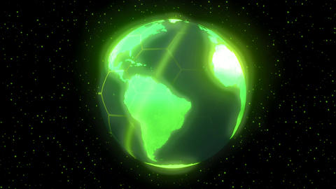 Earth planet world high tech display green Stock Video Footage