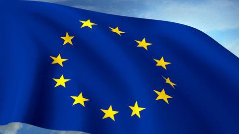 Euro Europe Flag Closeup Waving Against Blue Sky S Animation