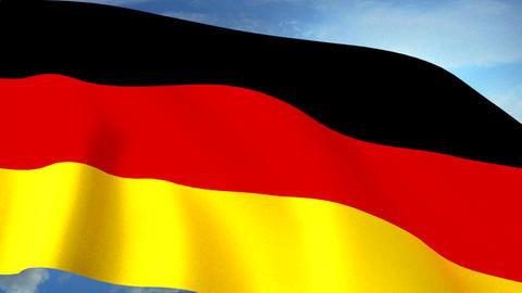 German Flag Closeup Waving Against Blue Sky Seamle Animation