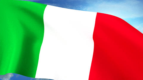 Italian Flag Closeup Waving Against Blue Sky Seaml Animation