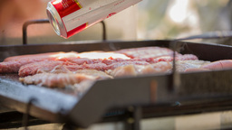 Close Up On Barbecue At Beach stock footage