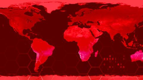World map high tech digital satellite data view wa Animation