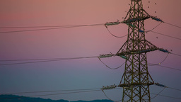 Electrical Tower With Colored Background And Birds stock footage