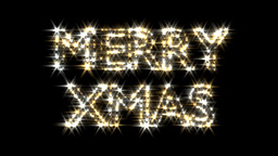 Merry Xmas text in gold and silver sparkles partic Animation