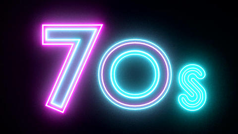 70s neon sign lights logo text glowing multicolor Animation