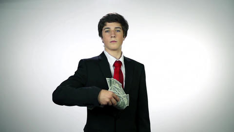Throwing Money Against Viewers stock footage