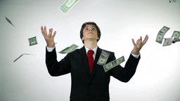 Business Boy Throwing Money In Slow Motion stock footage