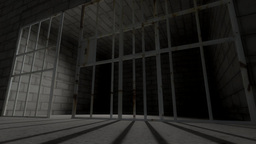 Prison cell bars cell closing low angle Animation