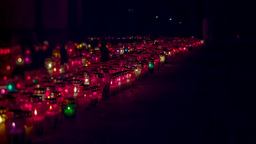 Long Line Of Graveyard Candles At Night stock footage