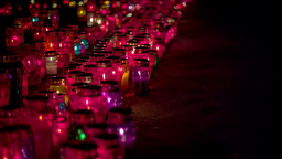 Glowing Graveyard Candles In November stock footage