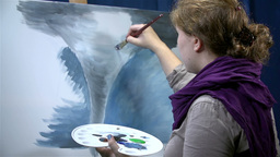 Drawing Huge And Destructive Tornado On Canvas stock footage