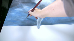 Low Angle View Of Hand While Drawing On Canvas stock footage
