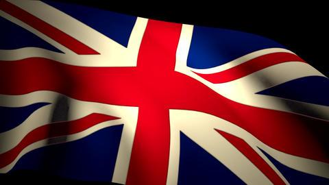 UK Britain Union Jack Flag Closeup Waving Backlit Animation