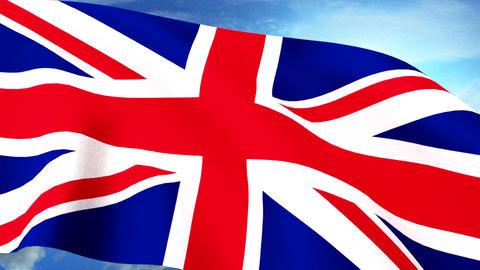 UK Britain Union Jack Flag Closeup Waving Against Animation