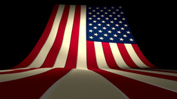 USA US American Flag Curving Upward Stars and Stri Animation