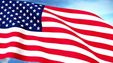 USA US Flag Closeup Waving Against Blue Sky Seamle Animation