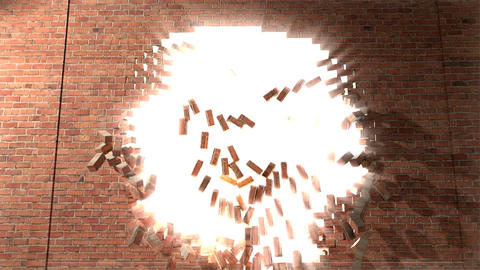Brick Wall Break Through Demolish Smash Escape To stock footage