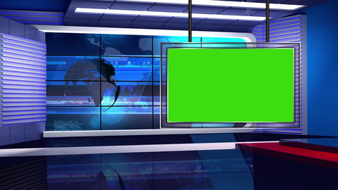 News TV Studio Set 32 - Virtual Background Loop Footage