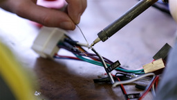 Soldering Wire Of Car Radio Module stock footage
