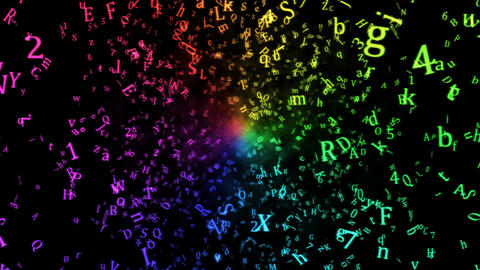 Random Letters Abstract Animation - Loop Rainbow Animation