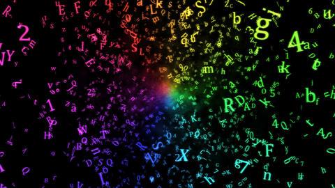Random Letters Abstract Animation - Loop Rainbow Animation