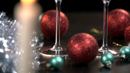 Close Up Of Two Glass Picked Up On Christmas stock footage