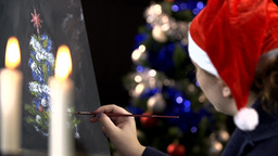 Christmas Spirit Drawing On Canvas stock footage