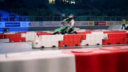 Stadium Motor Race Indoors stock footage