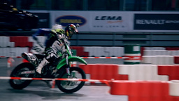 Tracking Motorcycle Drivers On Race Track stock footage
