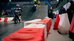 Motors Jumping On Indoor Jump In Stadium stock footage