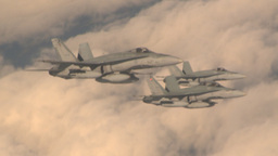 HD2009-6-4-4 Aerial F18 x3 formation Stock Video Footage