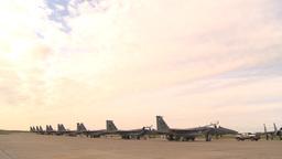 HD2009-6-6-31 apron F15 line jet overhead Stock Video Footage