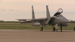 HD2009-6-6-37 F18 taxi to F15s canopy closes Stock Video Footage